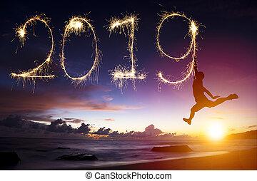 frohes neues jahr, 2019., mann springen, und, zeichnung, auf, sandstrand