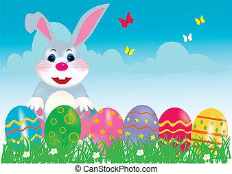 frohes ostern, kaninchen, mit, eier