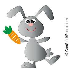 frohes ostern, nett, bunny., vektor, kunst