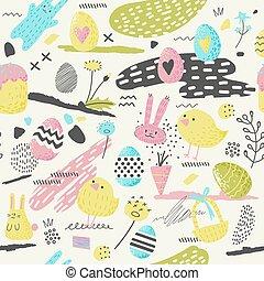 frohes ostern, seamless, muster, mit, eier, kaninchen, und, flowers., fruehjahr, hintergrund, für, stoff, einwickelpapier, und, gruß, karten., vektor, abbildung