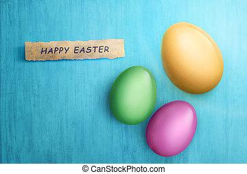frohes ostern, text, in, papier, mit, bunte, eier