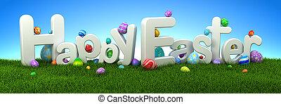 frohes ostern, text, mit, bunte, eier, auf, grünes gras, mit, blauer himmel, -, 3d, render