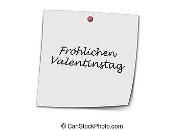 Frohlicher valentinstag written on a memo - Frohlicher...