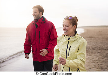 froid, couple, temps, plage, jogging