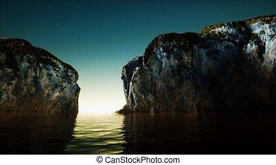 froid, eau mer, falaise, rocheux