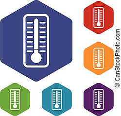 froid, ensemble, thermomètre, icônes