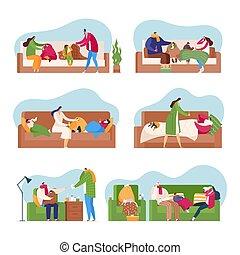 froid, famille, illustration, vecteur, set., malade, isolé, saison, fièvre, gens, grippe