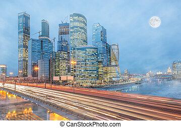froid, hiver, matin, vue, de, les, route, et, business, ville, center.