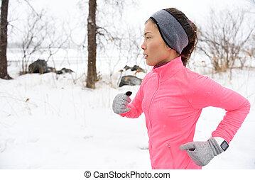 froid, hiver, neige, coureur, traîner courir