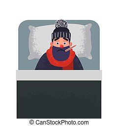 froid, homme, lit, thermometer., malade