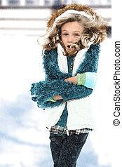 froid, neiger orage, enfant