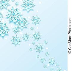 froid, noël, fond, flocons neige