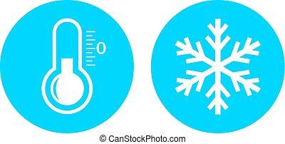 froid, température, icône, vecteur