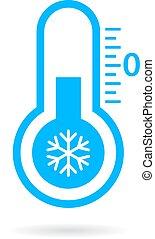 froid, vecteur, température, icône