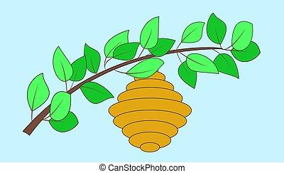 frollare, ramo, leaves., verde, alveare, vettore, illustration.
