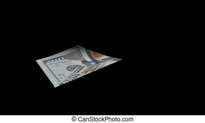 from a banknote a paper airplane is formed, the concept of prosperity growth, with alpha-canal and chromakey