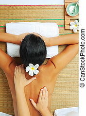 from above - portrait of young beautiful woman in spa ...