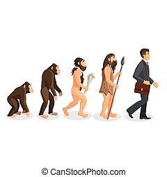 From ape to man standing process isolated. Human evolution