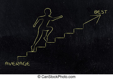 from average to best, man climbing stairs metaphor