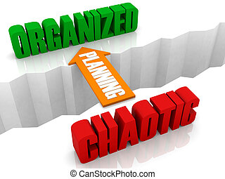 Planning is the bridge from CHAOTIC to ORGANIZED. Concept 3D illustration.
