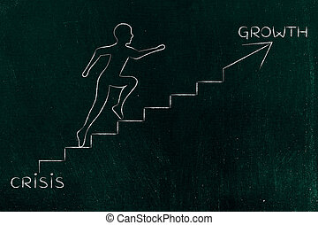 from crisis to growth, man climbing stairs metaphor