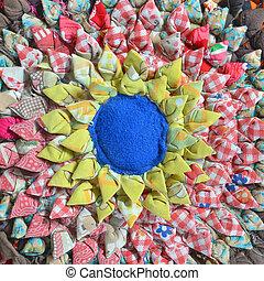 ??from, doormat, afvalmateriaal, gemaakt, weefsel