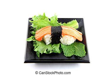 ??from, fatto, carne, sushi, granchio, dish.