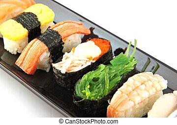 ??from, fatto, frutti mare, sushi, nero, dish.