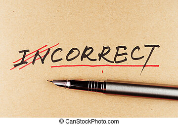 amending incorrect word and changing it to correct using a pen