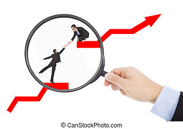 from magnifier , found business teamwork in stock market