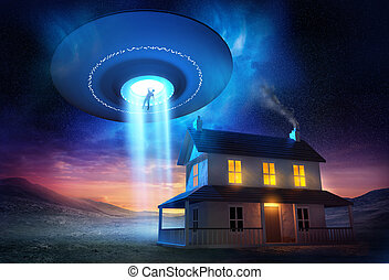 A man abducted near his isolated home by a UFO.