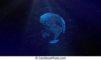 From small particles the planet Earth appears and starts spinning. Blue background