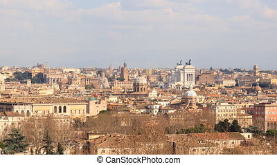 From the Janiculum Hill (Gianicolo). Zoom. Rome, Italy. Time Lapse