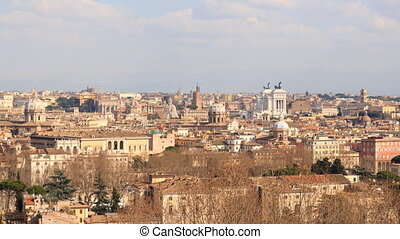 From the Janiculum Hill (Gianicolo). Panorama. Rome, Italy. Time Lapse