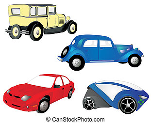 From the old to the new, cars, in red, blue and yellow, grow, as we need more transportation, economical and practical.