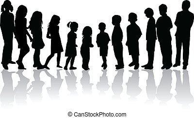 from the smallest to the largest child-vector silhouettes