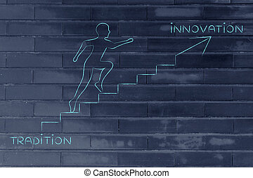 from tradition to innovation, man climbing stairs metaphor