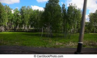 From train. - Siberian landscape through the window of an...