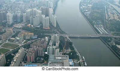 From TV tower is visible bridge, Pearl river and city...