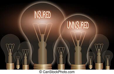 from., vente, choisir, compagnie, assuré, uninsured., concept, signification, liste contrôle, texte, assurance, écriture