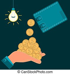 From Wallet to cash pouring Golden dollar coins in hand, in a dark room with light bulb. Illegal income, wages.