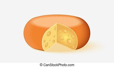 fromage, blanc, vecteur, icône, arrière-plan.