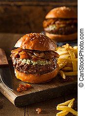 fromage bleu, hamburger, juteux