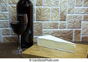 fromage, bois, francais, planche découper, table