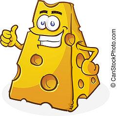 fromage, caractère, haut, pouces, dessin animé