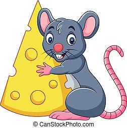 fromage, couper, grand, tenue, souris, dessin animé