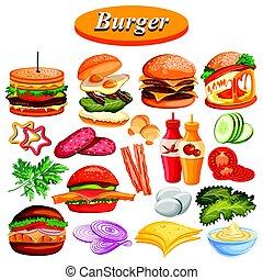 fromage, différent, hamburger, inclure, jambon, sauce, ingrédient