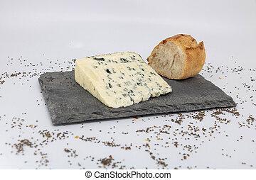 fromage, france, couper, fin, baguette, rustique, repas