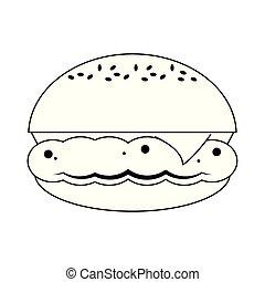 fromage, hamburger, nourriture, jeûne, noir, blanc
