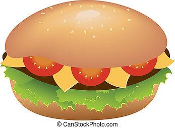fromage, hamburger, tomates